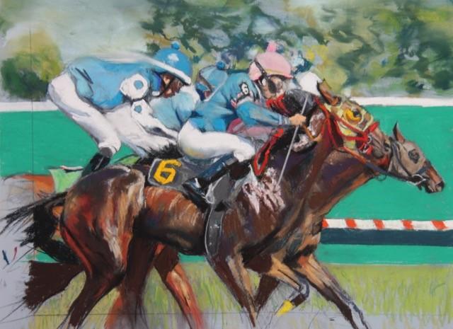 """The Race""  Pastel 18"" X 24""    Rhoda Yanow"