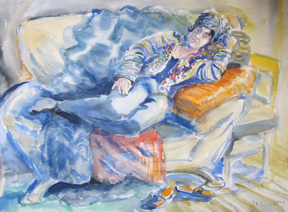 """""""Nancy on the Sofa""""  Watercolor 22"""" X 30""""   Beata Szpura"""