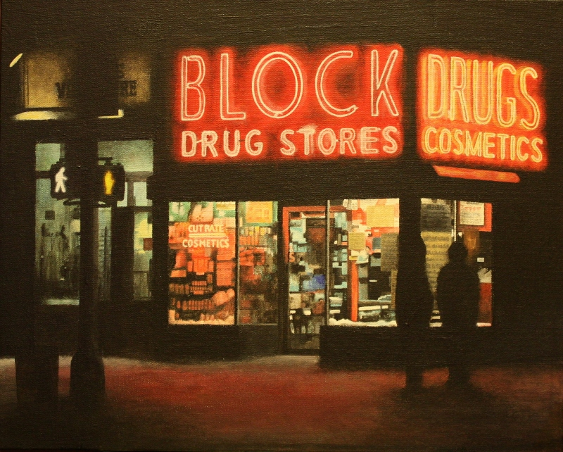 Mark Fernkas Title: Block Drug Night Size: 16 x 20 x .75 Price: $1000 Medium: Watermedia