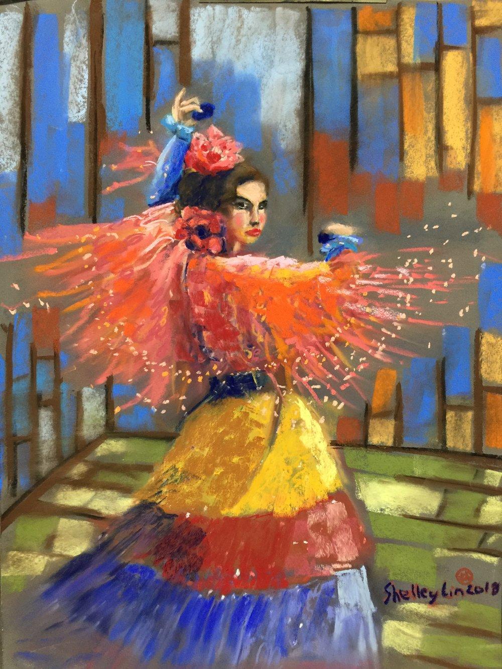YUYUNG LIN Title: Dancing Gypsy woman Size: 55cm x 38cm x 0.1cm Price: $700
