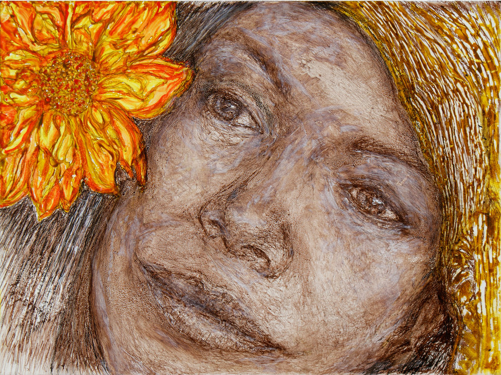 Tina Powers Title: Woman with Flower 4 Size: 9 x 12 x 1/8 Price: $450