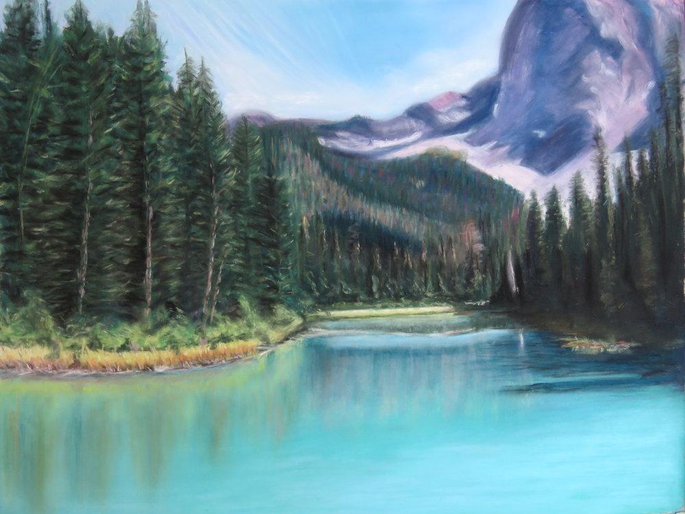 Linda Sacristan Title: Emerald Lake Size: 12 x 16 Pastel Price: $1250