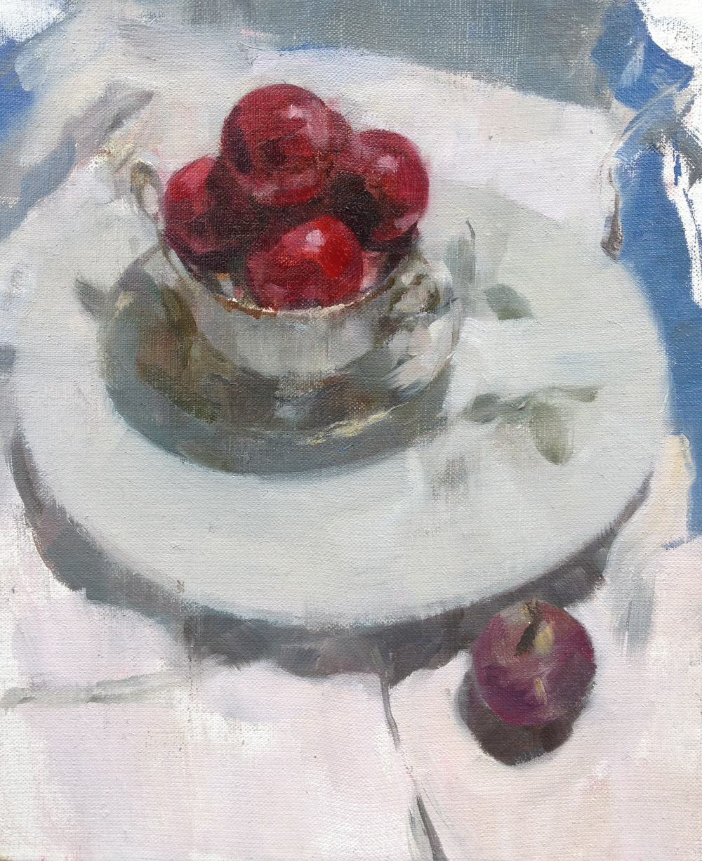 Plums and Fig, oil on linen, 31 cm x 25.5 cm