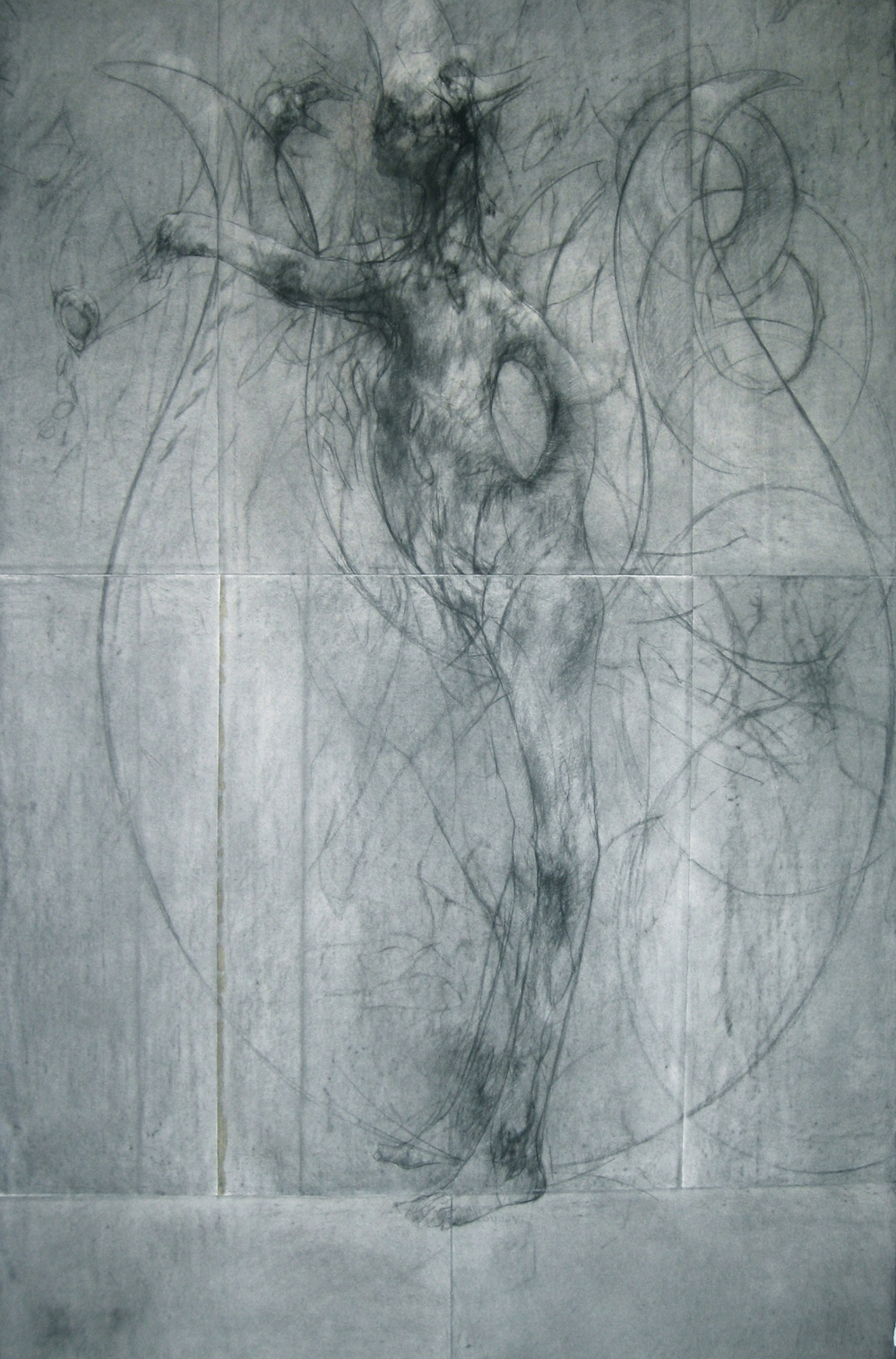 lyre, conté and charcoal on arches paper 181cm x 112cm