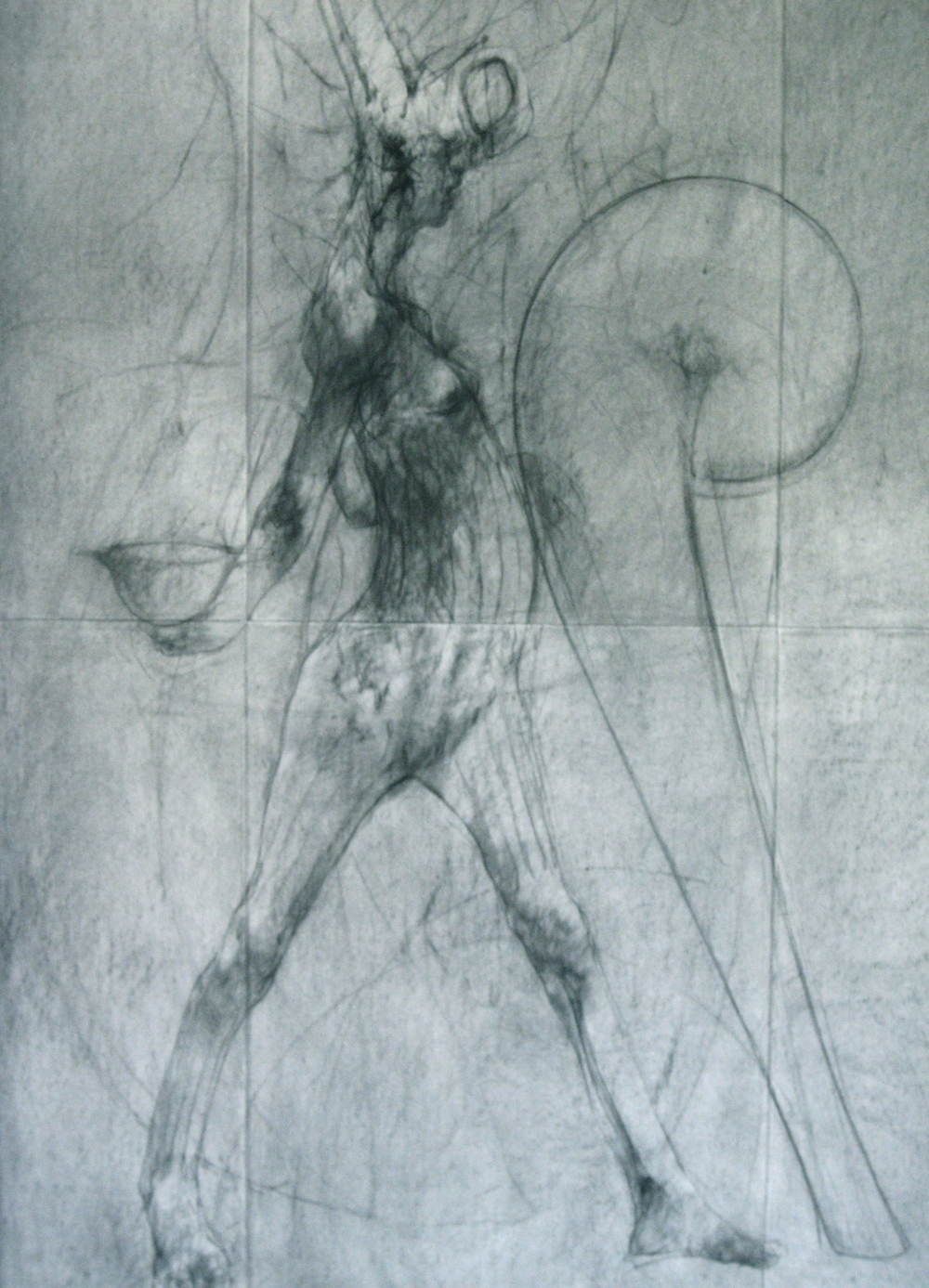 vessel, conté and charcoal on arches paper 181cm x 112cm