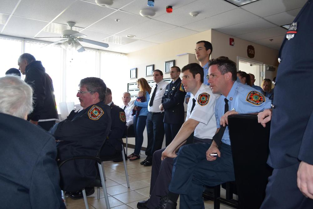 Approximatlely 70 firefighters and EMTs gathered at the nearby Chestnut Ridge Volunteer Fire Company to watch the live stream on two computers