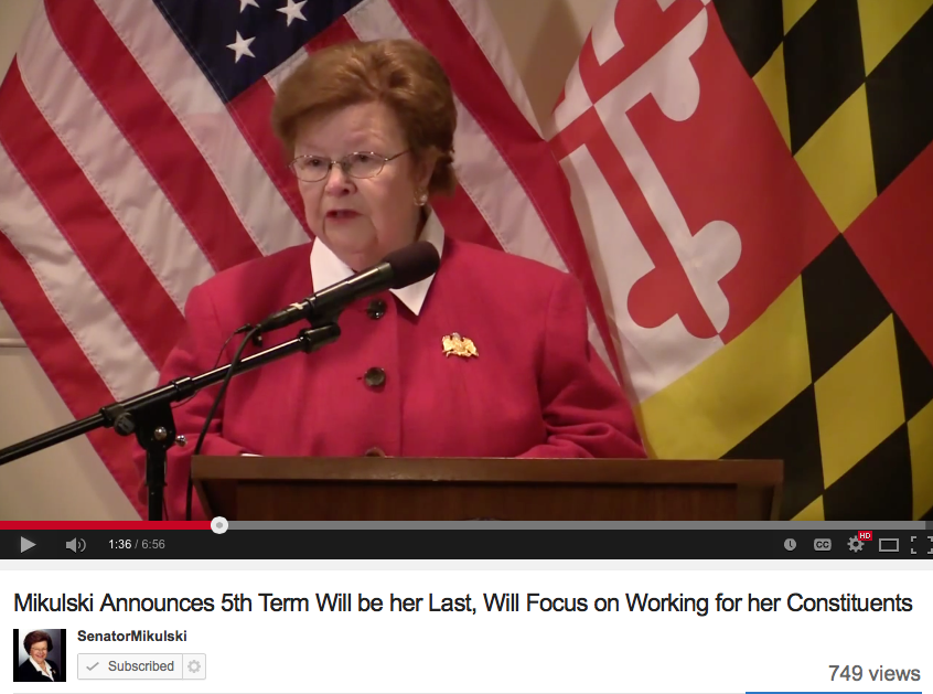 Senator Barbara Mikulski announcing that she will not run for re-election.