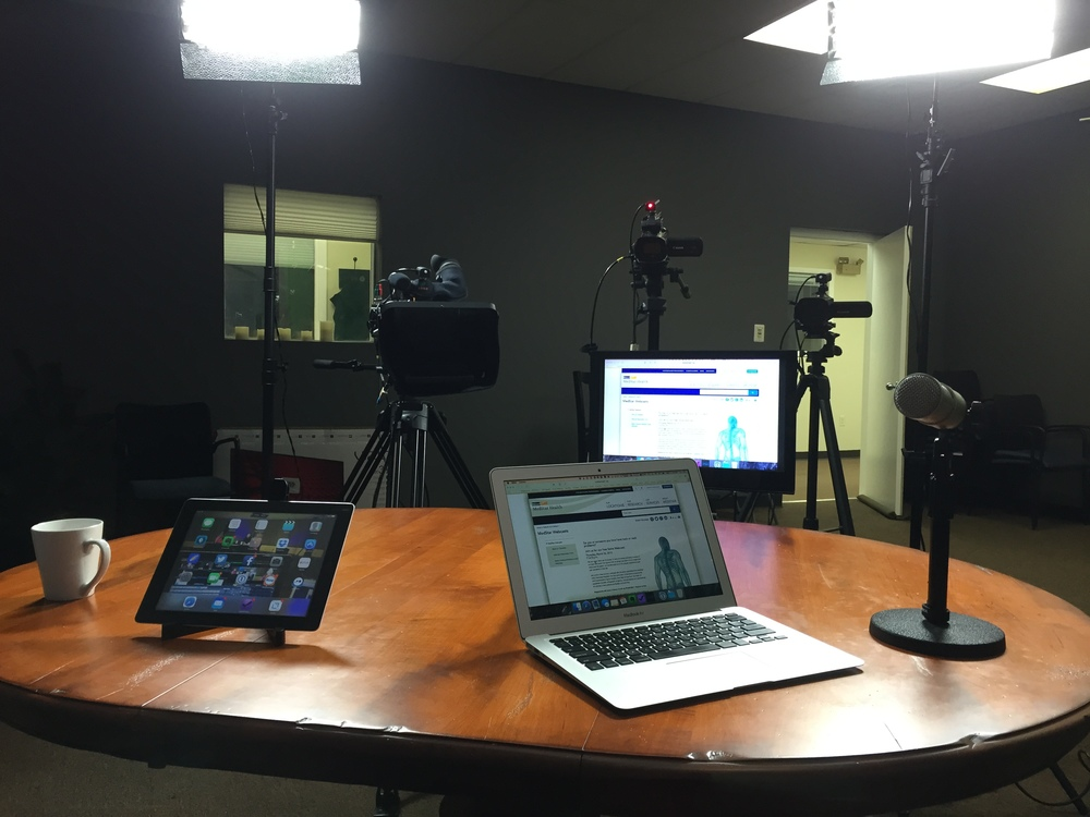Point of view from where the talent sits.  Presenters can use their iPad or laptop to show apps, websites, power point presentations, or any type of file.