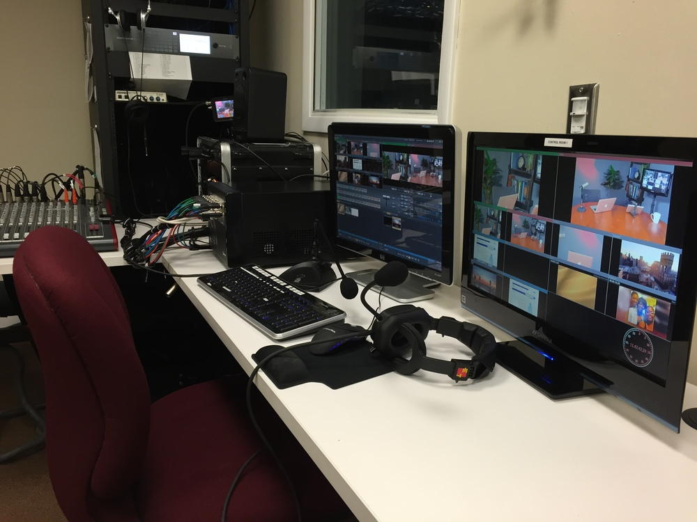 Control room. The director can switch between 4 cameras and 2 computer/ feeds. All titles, graphics, logos, photos, and videos are inserted live, thus editing is not required.