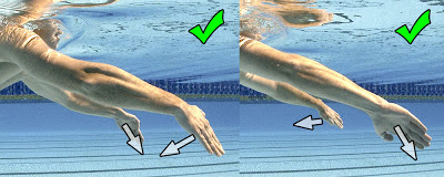 Sculling - note pressure always on palms