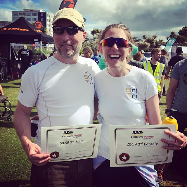 "There were plenty of prizes & smiles at #EastbourneTri 🏆⚡️Including the return of ""team broken"" who competed as a team last year due to injury but this year stormed their age-groups as individuals. Welcome back 👊🏼 #triathlon #raceday #clubchamps #britri #eastbourne #teamworkmakesthedreamwork"