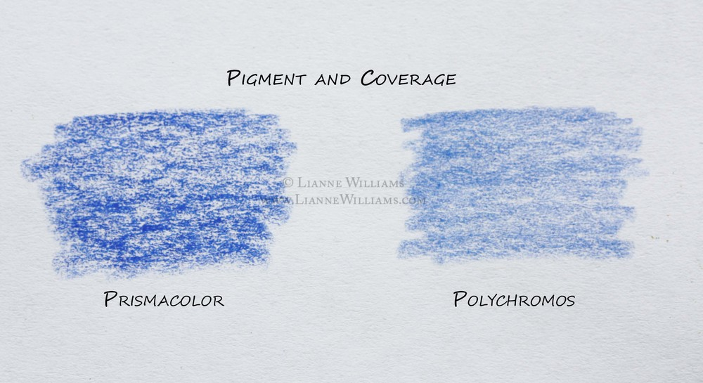 Pigment and coverage properties of Prismacolor and Polychromos color pencils