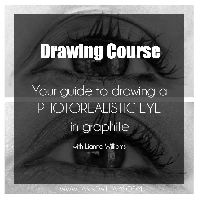 Drawing course, your guide on how to draw a photorealistic eye in graphite with Lianne Williams