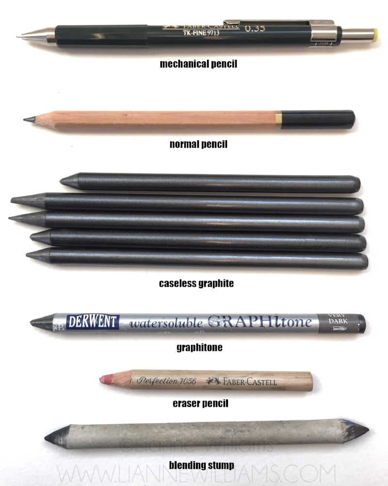 Mechanical pencil, wooden pencil, caseless graphite pencil, graphitone, eraser pencil and blending stumps.
