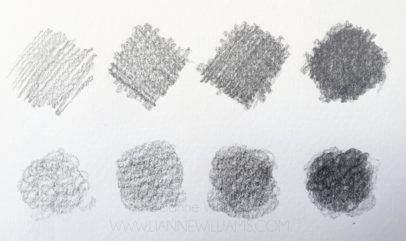 Top: Crosshatching. Bottom: Circulation. Graphite layering and shading techniques.