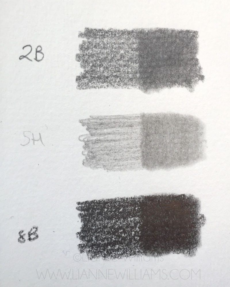 Different grades of graphite pencil blended