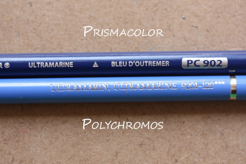 Two colour pencils in Ultramarine with very different casing colours