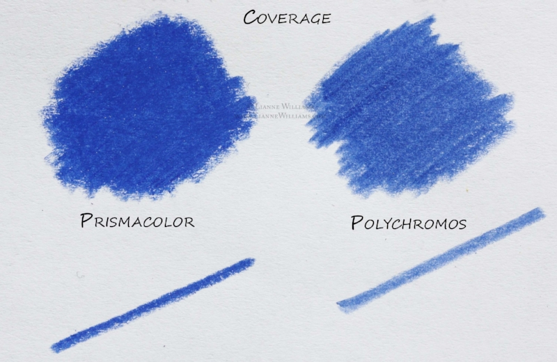 Heavy shading showing the power of coverage in both Prismacolor and Polychromos colour pencil