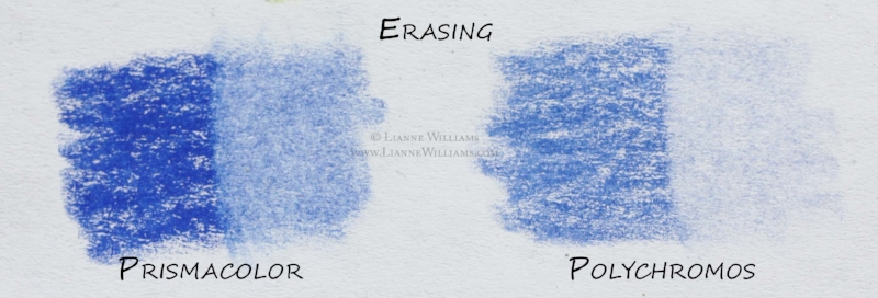 Erasing Prismacolor and Polychromos colour pencils