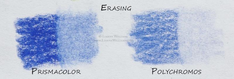 Erasing Prismacolor and Polychromos colour pencils