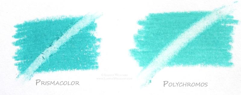 Erasing Prismacolor compared to Erasing Polychromos colour pencil