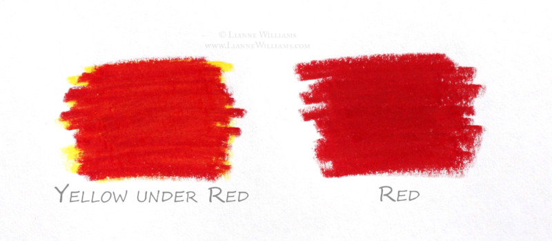 layering colours with colour pencil