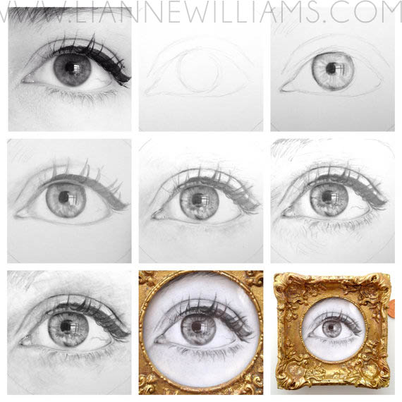 MINIATURE EYE TIMELAPSE DRAWING BY LIANNE WILLIAMS