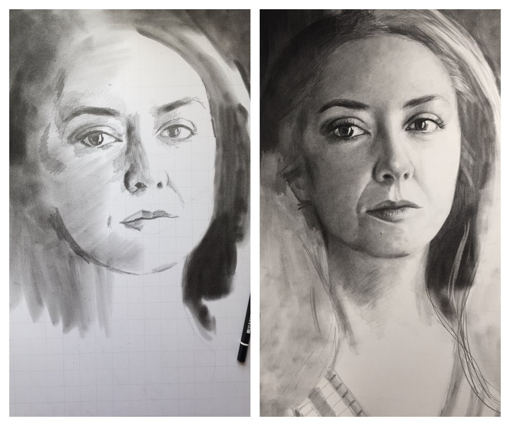 work in progress, using the grid method to achieve photorealistic drawings