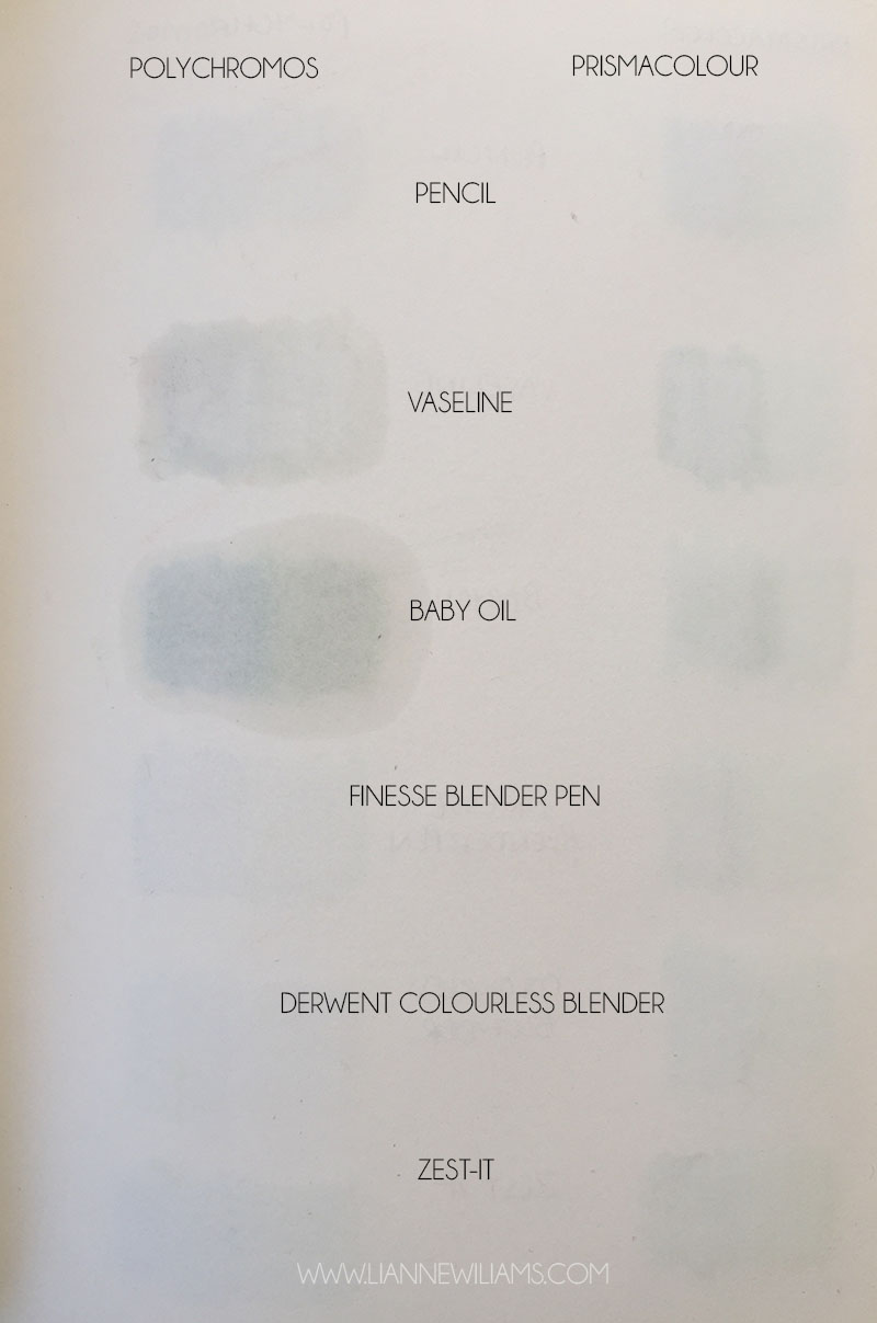 reverse side of page to show how colour pencil blenders have bled through