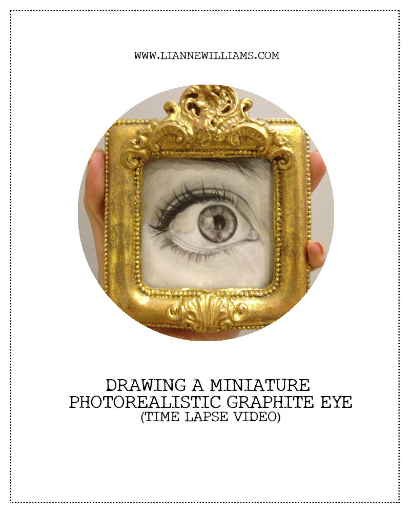 TIME LAPSE VIDEO DRAWING MINIATURE PHOTOREALISTIC GRAPHITE EYE BY LIANNE WILLIAMS