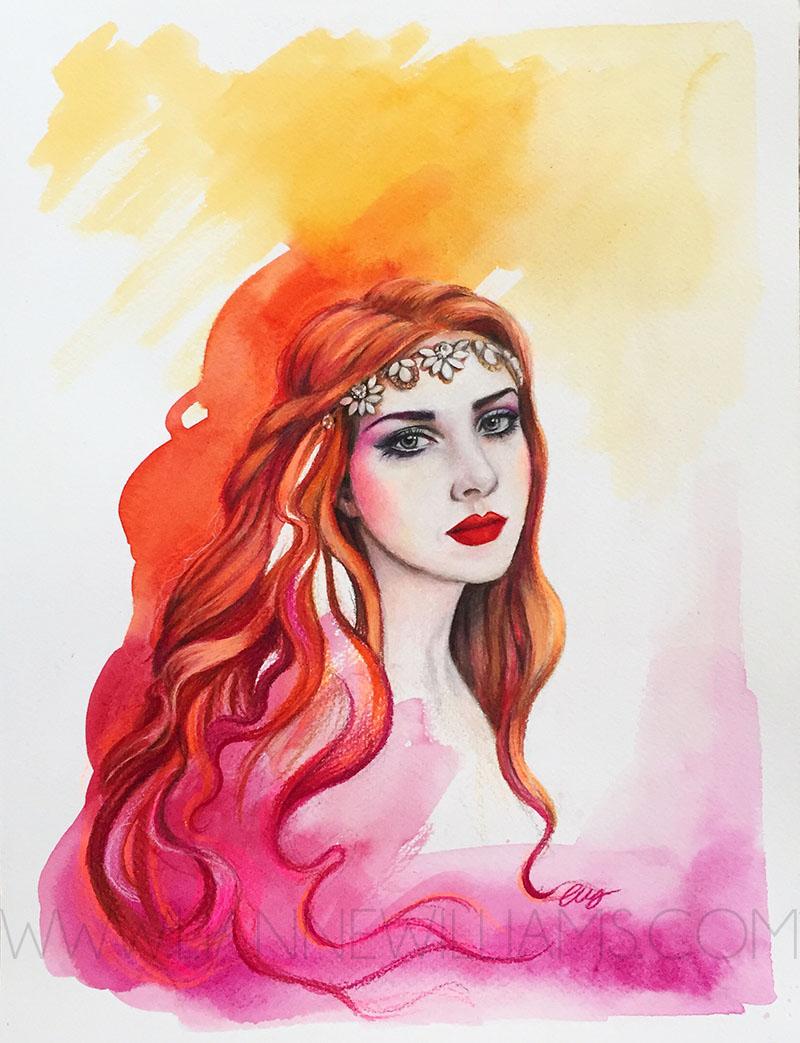 autumn portrait by Lianne Williams watercolour and colour pencil 4.jpg