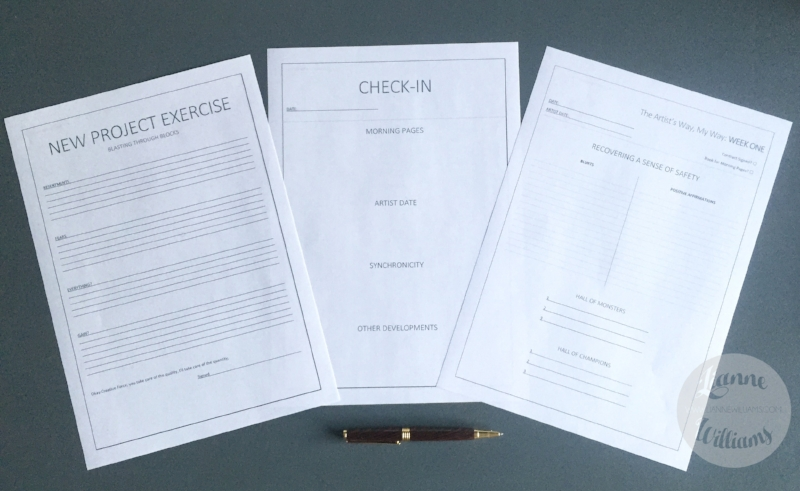 weekly task worksheets for the artists way by Lianne Williams