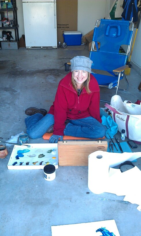 "Happy painter :) Not technically ""en plein air,"" but close enough for a windy, cold early spring day."