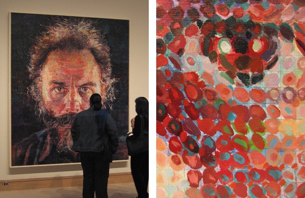 "Lucas I (1986–1987), oil & pencil on canvas, seen on display at the Metropolitan Museum of Art, left. Detail of eye, right. The pencil grid and thin undercoat of blue is visible beneath the splotchy ""pixels."" The painting's subject is fellow artist Lucas Samaras."