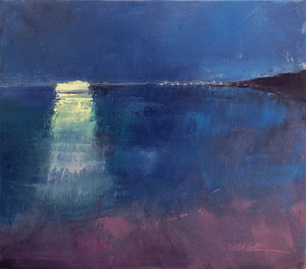 Painting of a memory, well more like two memories of Block Island from last summer on the beach at night and the ferry coming in and looking like a ghost ship and also the sparkly blue phosphorescents in the water.