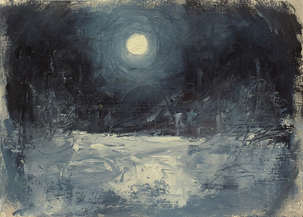 """moon after the storm oil on paper/gesso 8 1/2 x 12"""""""
