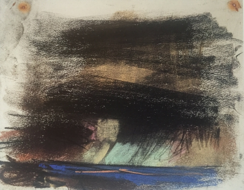 "Black Sky with Blue Sea,, c. 1962-63, pastel on paper, 7 7/8 x 10"", by Joan Eardley Scottish National Gallery of Modern Art"
