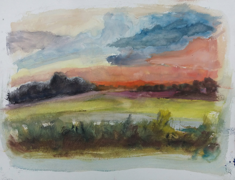 Watercolor, Clear Spring Road 2016