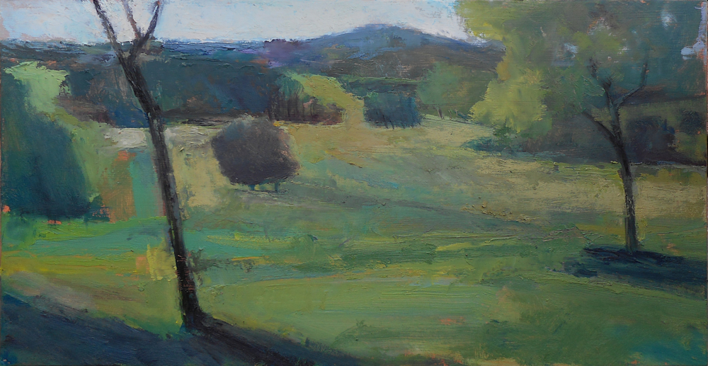 oil/matte board 10x19 1/2 at Valley Forge National Park painting with friends and a warm sunny day