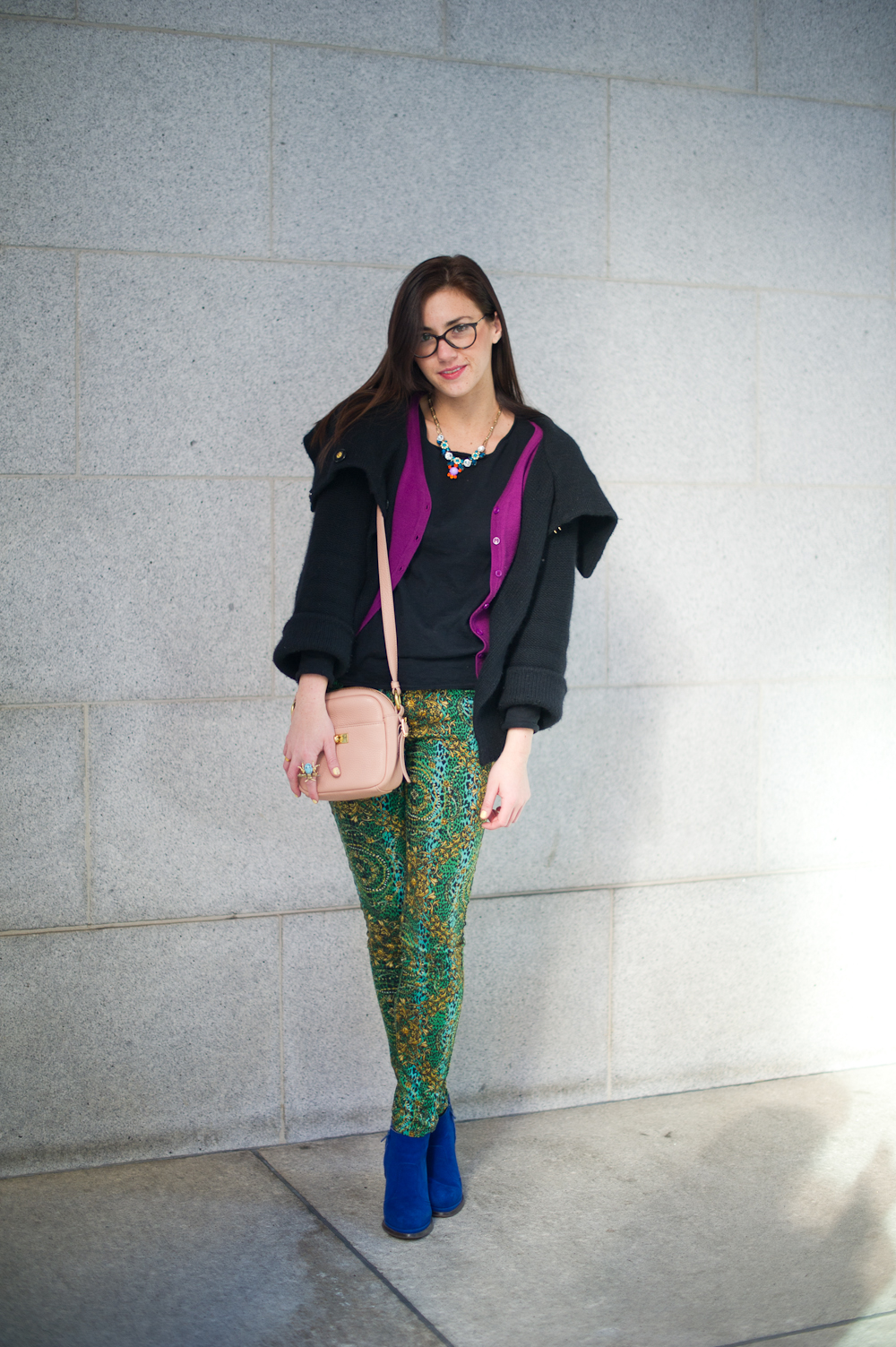 Tie Jacket : Marc by Marc Jacobs;  Amethyst Cardigan : Sway,  Black Sweater : Vince;  Printed Emerald Pants : Forever21;  Desmond Boot:  Jeffery Campbell;  Blush Bag : J.Crew;  Bug Cocktail Ring : Vintage, circa 1960s;  Jeweled Statement Necklace:  J.Crew