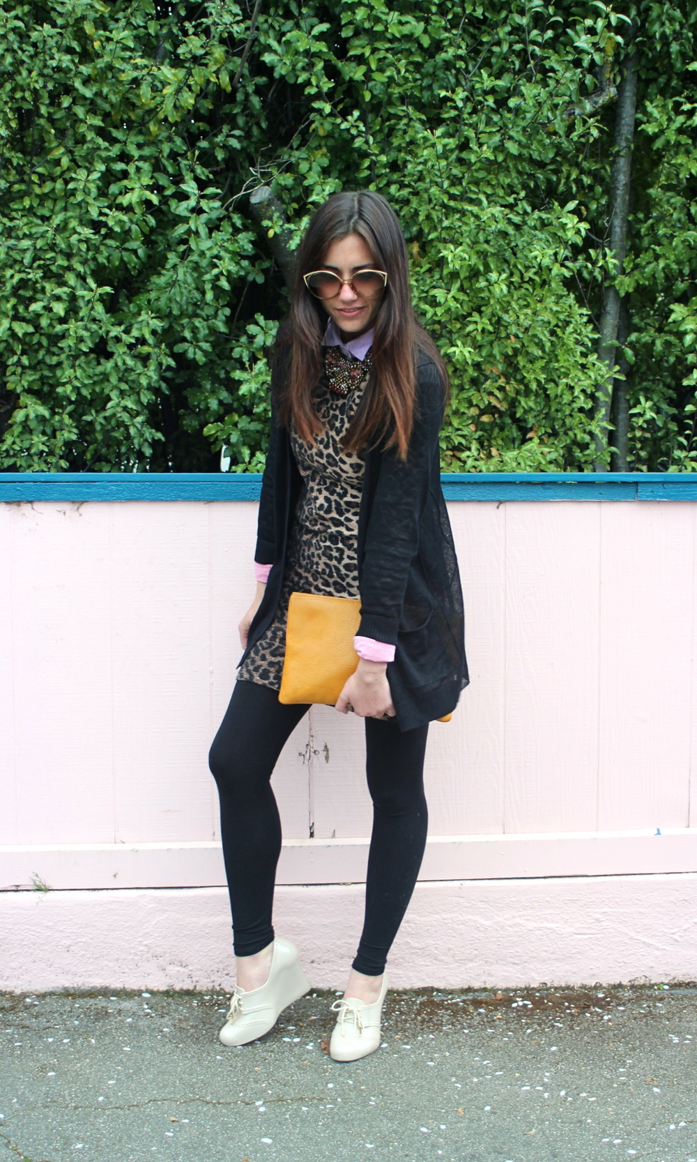 Linen Cardigan: KEW, Jigsaw London; Leo Dress: Sway; Color Blocked Blouse: J.Crew; Leggings: Jigsaw London; Wedges: Melissa for Herchcovitch Alexandre; Clutch: Madewell; Necklace: Anthropology; Sunnies: Dior, vintage