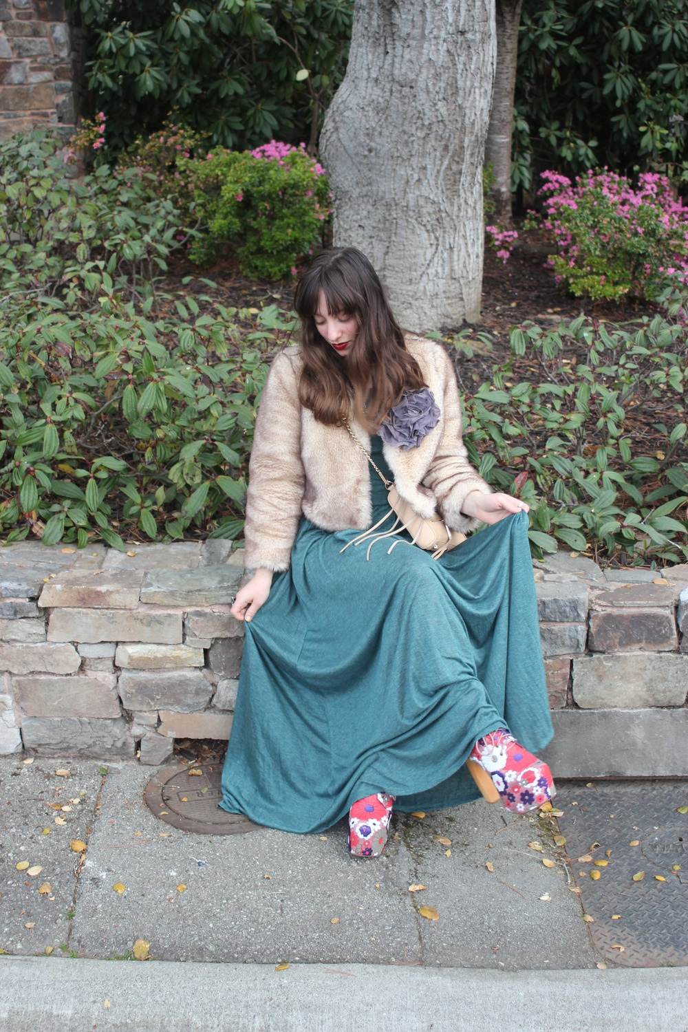 "Faux Fur Jacket, Dress, and Flower Pin: Anthropologie, Shoes: Jeffrey Campbell ""Lela"", 5-Zip Cross Body Bag: Rebecca Minkoff"