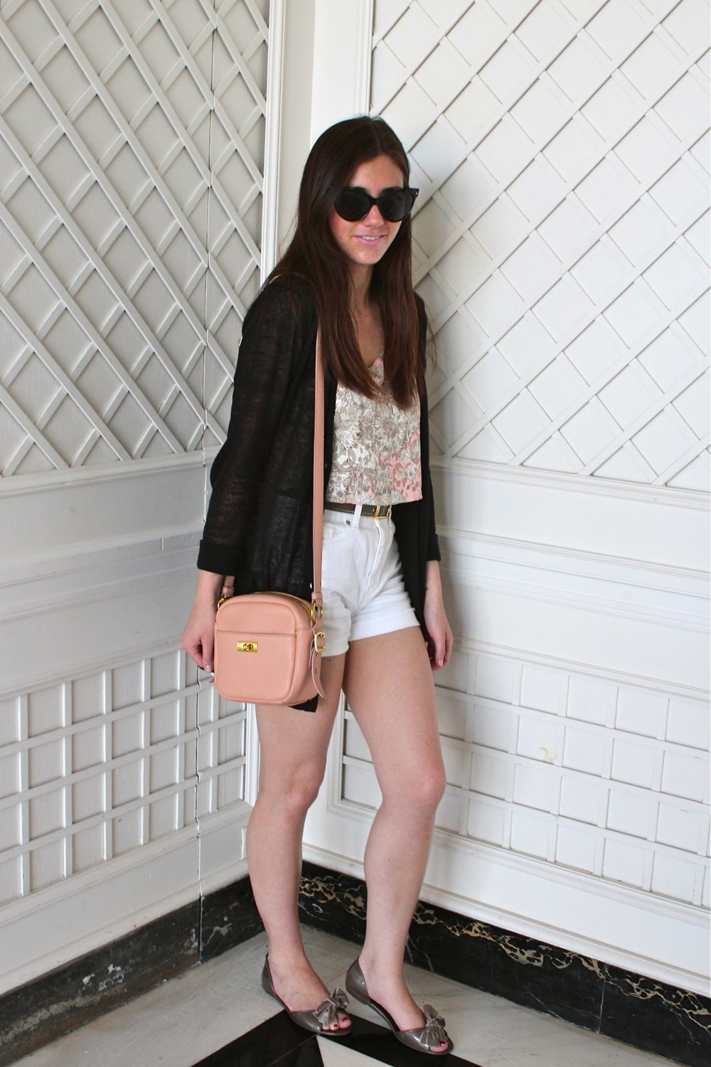 Crop Top: Forever21; High-Waisted Shorts: BDG, Urban Outfitters; Linen Cardigan: KEW, Jigsaw London; Belt: Jaeger; Mini Bag: J.Crew