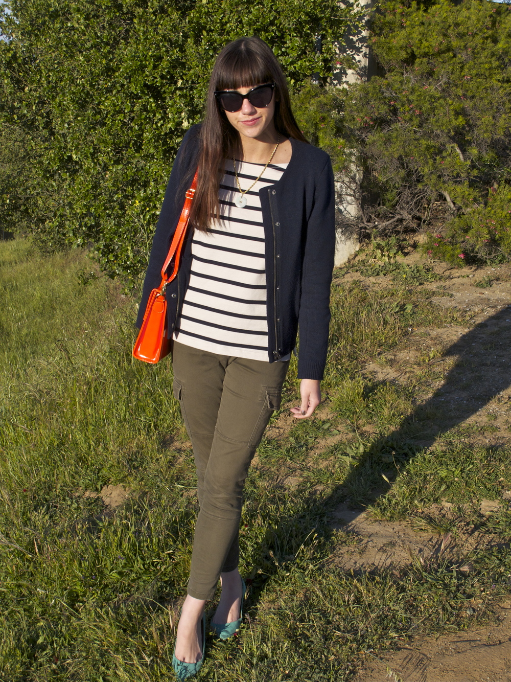 Jacket: Jigsaw London; Stripe Top: Jigsaw London; Cargo Legging: GAP; Flats: Steve Madden; Bag: Forever21
