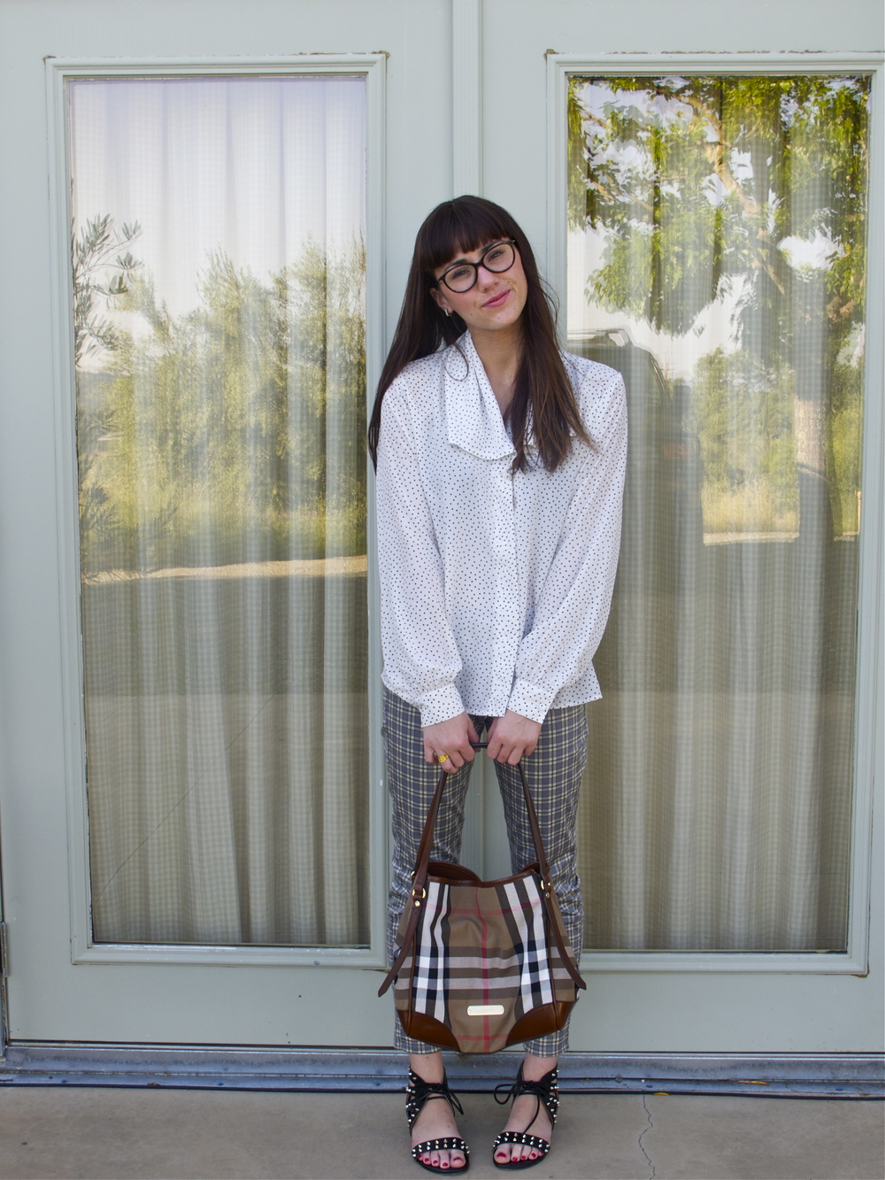 Blouse: Vintage; Plaid Leggings: Uniqlo; Bag: Burberry; Sandals: Mia