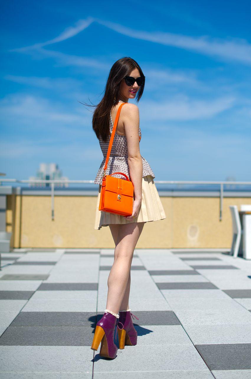 Peplum top: Anthropologie; Leather Skirt: Nordstroms; Shoes: Litas, Jeffrey Campbell; Bag: Forever21