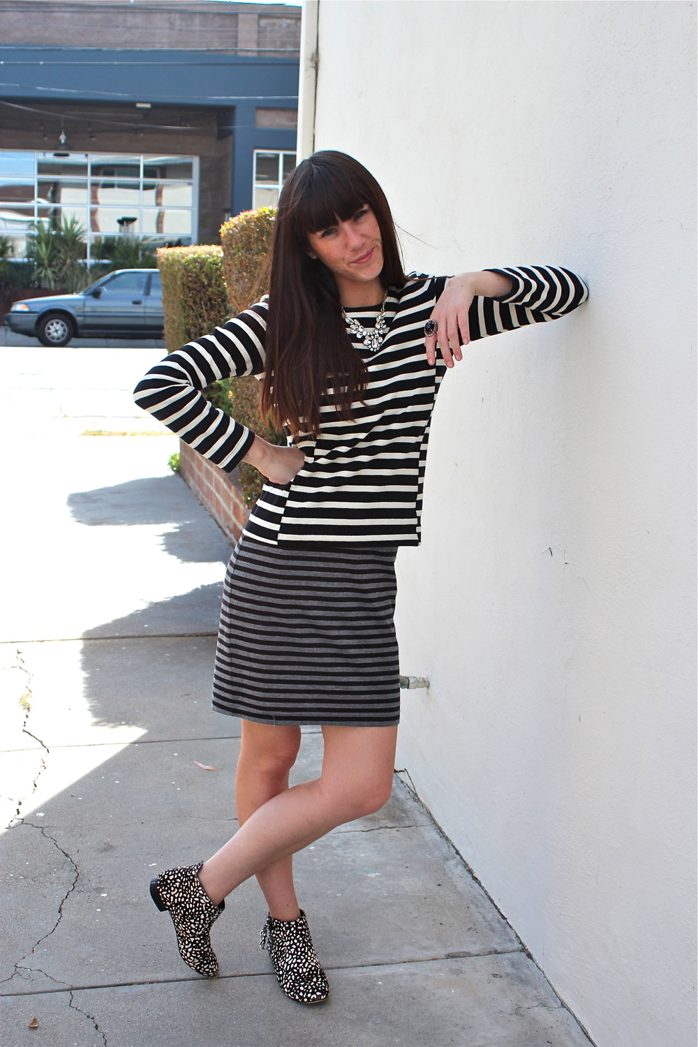 Stripe Top: J.Crew; Stripe Dress: UK Style by French Connection, Sears; Dotted Boots: Dolce Vita; Ring: Vintage; Necklace: J.Crew