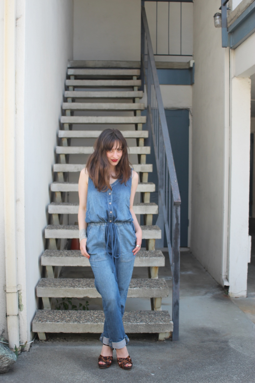 Overalls: Anthropologie, Wedges: Sam Edelman, Bracelet: Liquid Metal Jewelry