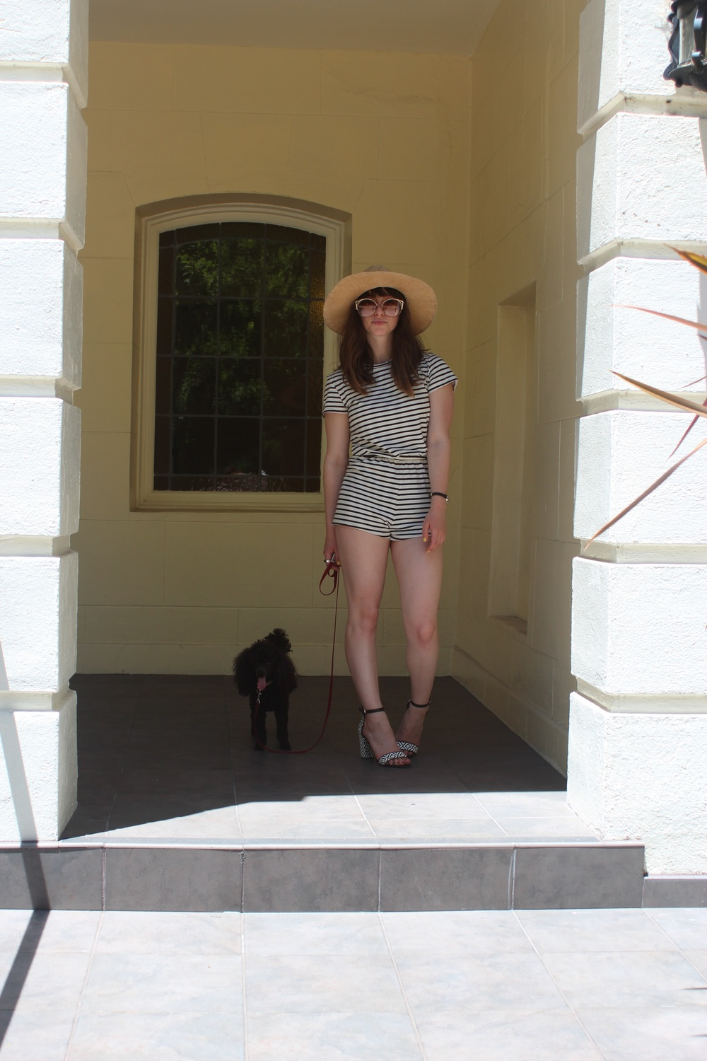 Romper:  American Apparel , Sandals: Zara, Hat: Sway, Watch: Nordstrom