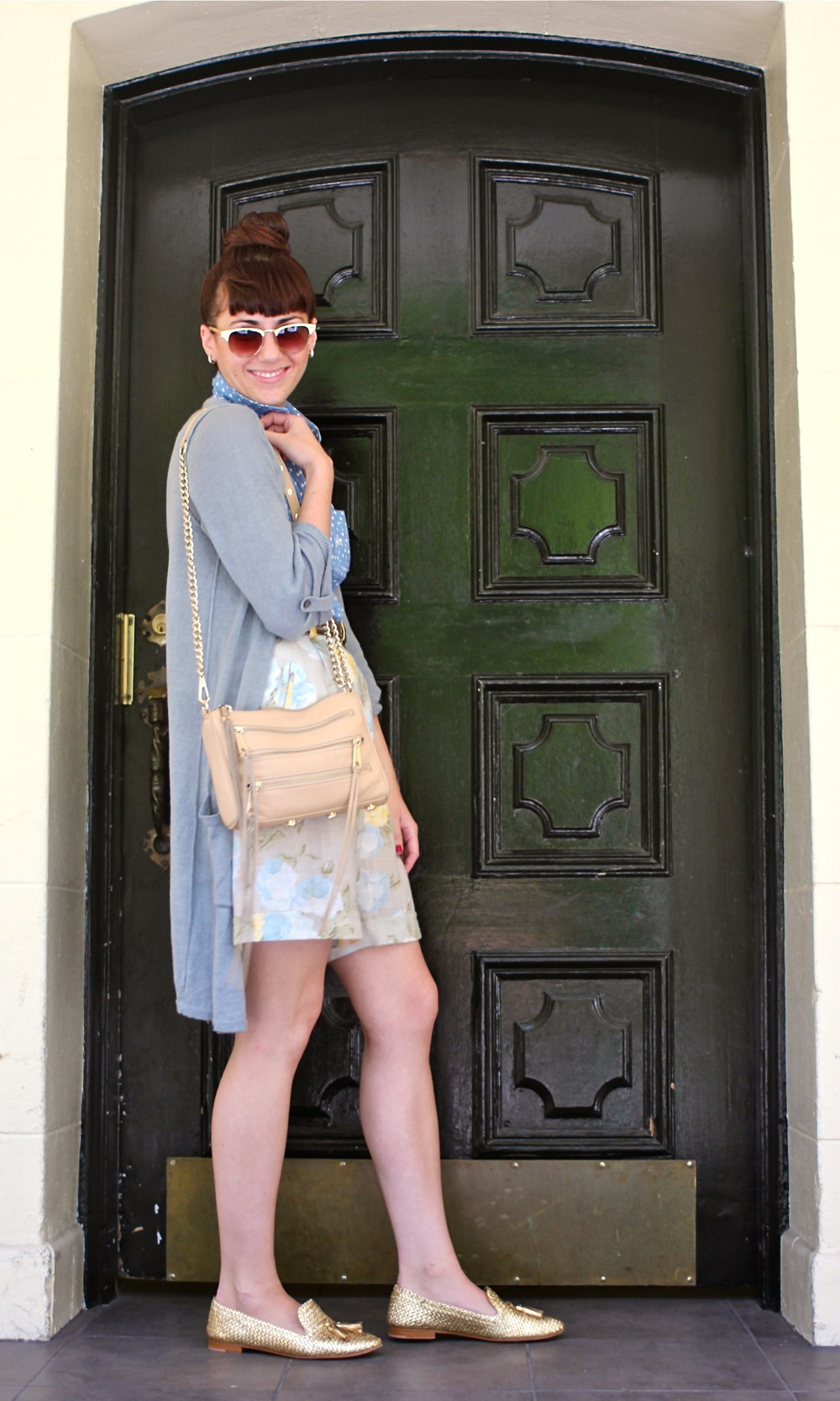 Polka Dot Top: Forever21; Floral Shorts: Vintage, circa 1990s; Linen Tab Sweater: Jigsaw London; Shoes:Prada; Bag: Rebecca Minkoff; Belt: Jaeger